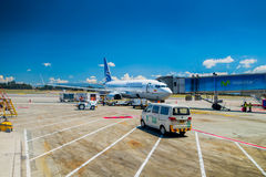 Copa airlines passenger airplane parked in. BOGOTA, COLOMBIA - MARCH 07, 2015: Copa airlines passenger airplane parked in terminal at El Dorado International Royalty Free Stock Photography