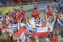 Copa america 2019. RIO DE JANEIRO, BRAZIL - June 24, 2019: Soccer fans celebrating at the 2019 Copa America Group C game between Chile and Uruguay at Maracana royalty free stock photos