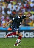 World Cup 2014. Rio de Janeiro, July 4, 2014. French soccer player Benzema, playing a game during the match between France and Germany, for the 2014 World Cup at stock images
