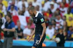 World Cup 2014. Rio de Janeiro, July 4, 2014. French soccer player Benzema, playing a game during the match between France and Germany, for the 2014 World Cup at stock photography