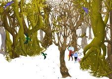 Copa de árvore preta sob o céu branco Imagens de Stock Royalty Free