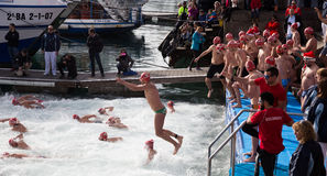 Copa de Nadal de Natacio open water swim in Barcelona Royalty Free Stock Images