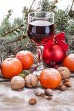 Copa de vino con las frutas y las nueces Imagen de archivo