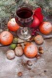 Copa de vino con las frutas y las nueces Foto de archivo libre de regalías