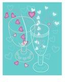 Copa de vino de dos amores con los corazones Foto de archivo