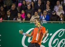Copa del café - Casper Ruud viert het matchpunt dat tot hem kampioen maakte Stock Foto's