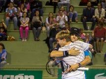 Copa del café - het Tennisminderen Ezekiel Clark en Trent Bryde van de V.S. Stock Fotografie