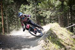 COPA DEL MUNDO UCI FAHRRAD ABWÄRTS 2018 DES MONTAIN lizenzfreies stockbild