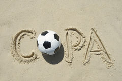 Copa Football Sand Writing Message Royalty Free Stock Images