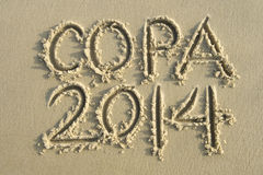 Copa 2014 Football Sand Writing Message Royalty Free Stock Photography