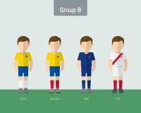 Copa 2016 soccer uniform group B. Flat design Stock Photos