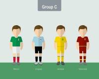 Copa 2016 soccer uniform group C. Flat design Stock Image