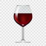 Copa transparente con el vino rojo stock de ilustración