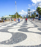 Copacaban.a with mosaic of sidewalk in Rio de Janeiro Royalty Free Stock Photo