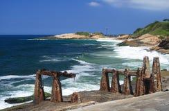 Copacabana堡垒和Arpoador 库存照片