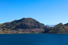 Copacabana στη λίμνη Titicaca, Βολιβία στοκ εικόνα