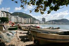 Copacabana Beach. Fishing boats on Copacabana Beach in Rio de Janeiro, Brazil Stock Photos