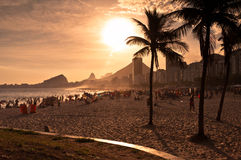 Copacabana Beach By Sunset Stock Photo