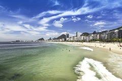 Copacabana Beach with cityscape in Rio de Janeiro Royalty Free Stock Photography