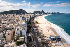 Copacabana Beach. Famous Copacabana Beach View with Sugarloaf Mountain in the Horizon, Rio de Janeiro, Brazil stock photography