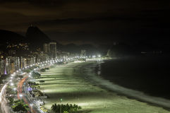 Copacabana Beach at night Stock Photography