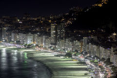 Copacabana Beach at night Royalty Free Stock Photography