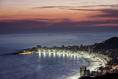 Copacabana Beach at night in Rio de Janeiro Royalty Free Stock Photography