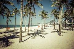 Copacabana beach with palms in Rio de Janeiro Royalty Free Stock Photo