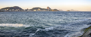 Copacabana beach. Panoramic view of Copacabana Beach, Sugar Loaf hill and the Guanabara Bay Inlet Stock Photography