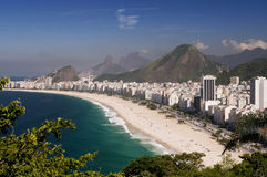 Copacabana Beach in Rio de Janeiro. The famous beach of Rio de Janeiro, in a view from the top of Duque de Caxias fortness royalty free stock photo