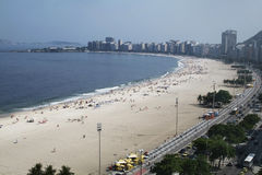 Copacabana beach Rio de Janeiro Brazil. Copacabana beach and promenade Rio de Janeiro Brazil Royalty Free Stock Image