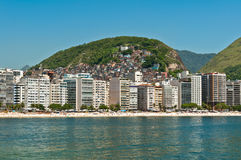 Copacabana Beach, Rio de Janeiro, Brazil. Luxury residential apartment and hotel buildings in the front of the Copacabana beach with mountains behind in Rio de Royalty Free Stock Photography
