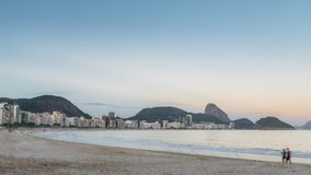Copacabana Beach in Rio de Janeiro, Brazil. At night stock photo