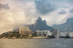 Copacabana Beach in Rio de Janeiro, Brazil- View from the ocean Royalty Free Stock Images