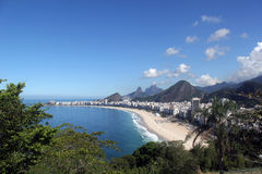 Copacabana beach in Rio de Janeiro city. Royalty Free Stock Photos