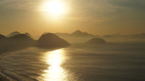 Copacabana Beach Rio De Janeiro Sunrise Mountain Royalty Free Stock Photo