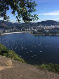 Copacabana Beach, Rio de Janeiro, water, tree, reflection, sky. Copacabana Beach, Rio de Janeiro is water, sky and cliff, drop, drop-off. That marvel has tree royalty free stock image