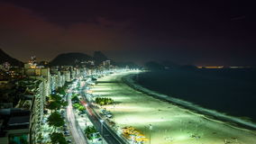 Copacabana Beach street traffic at night, Rio de Janeiro stock footage