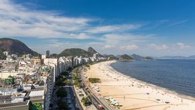 Copacabana Beach street traffic Time Lapse in Rio de Janeiro. Brazil stock video footage