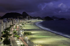 Copacabana beach at sunset Stock Photography