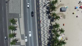 Copacabana beach on a top angle of view stock video