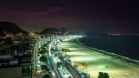Copacabana Beach traffic at night Time Lapse stock video footage