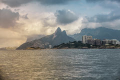 Copacabana Beach with view of Dois Irmaos Mountains Stock Photo