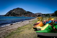Copacabana Bolivia Lake Titicaca Beach with Peddle Boats royalty free stock image