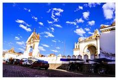 Copacabana church in bolivia stock image