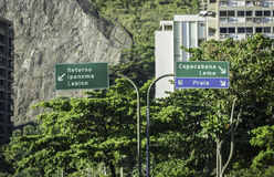 Copacabana direction road sign in Rio de Janeiro Royalty Free Stock Photos