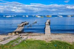 Copacabana doki na Titicaca jeziorze, Boliwia obrazy stock