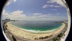 Copacabana för panoramaFisheye sikt strand arkivfilmer