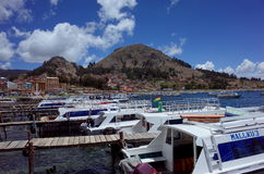 Copacabana harbour, the starting point for a tour of the Isla Del Sol on Lake Titicaca Royalty Free Stock Photos