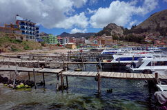 Copacabana harbour, the starting point for a tour of the Isla Del Sol on Lake Titicaca Stock Photography